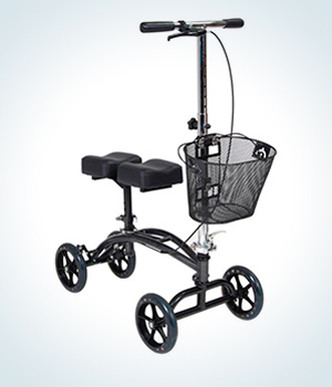knee scooter with padded knee platform, steerable, stable wheelbase, and hand brake