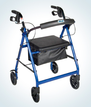 rollator with a folding seat, storage compartment, and hand grip brake attachment